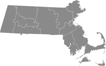 Massachusetts county map 向量圖像
