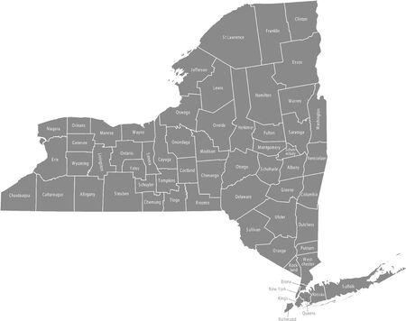 New York counties map Иллюстрация