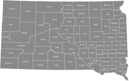 South Dakota county map Illusztráció
