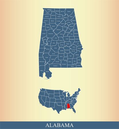 Counties map of Alabama