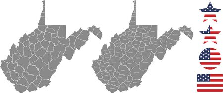 Counties map of West Virginia with USA flag icon set