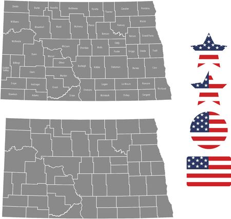 Counties map of North Dakota with USA flag icon set