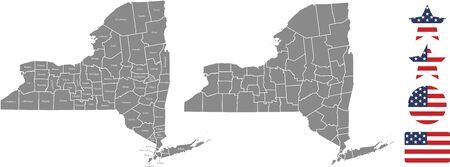 Counties map of New York with USA flag icon set Ilustrace