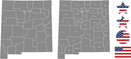 Counties map of New Mexico with USA flag icon set
