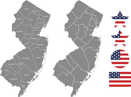 Counties map of New Jersey with USA flag icon set