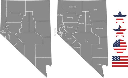 Counties map of Nevada with USA flag icon set