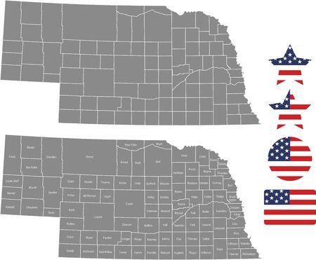 Counties map of Nebraska with USA flag icon set Ilustrace