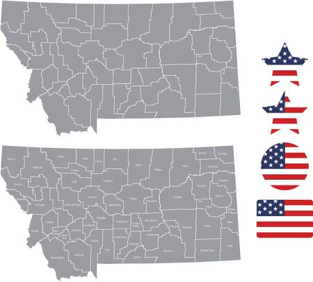 Counties map of Montana with USA flag icon set