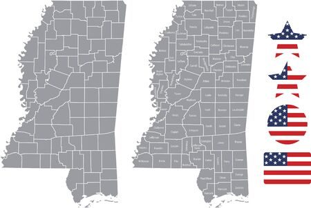 Counties map of Mississippi with USA flag icon set Ilustrace