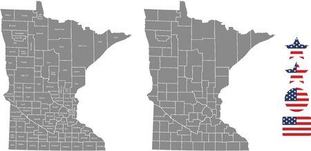 Counties map of Minnesota with USA flag icon set
