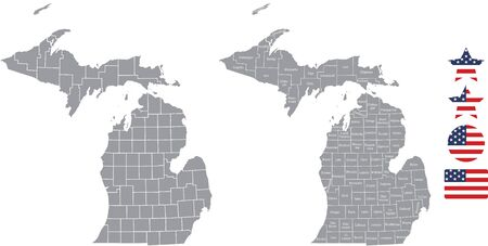 Counties map of Michigan with USA flag icon set