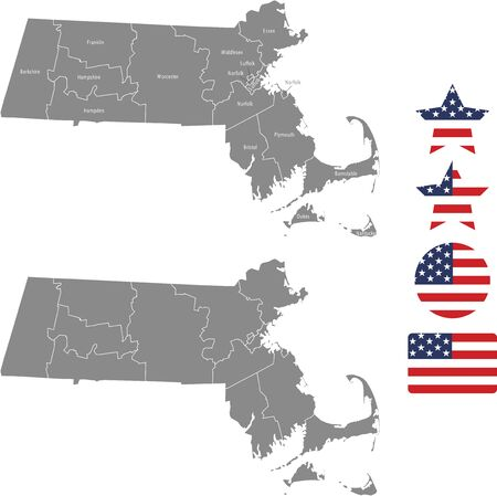 Counties map of Massachusetts with USA flag icon set