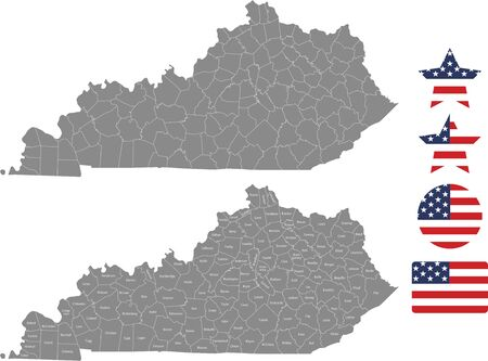 Counties map of Kentucky with USA flag icon set