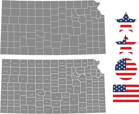 Counties map of Kansas with USA flag icon set Ilustrace