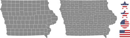 Counties map of Iowa with USA flag icon set