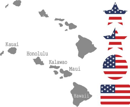 Counties map of Hawaii with USA flag icon set