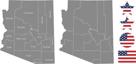 Counties map of Arizona with USA flag icon set
