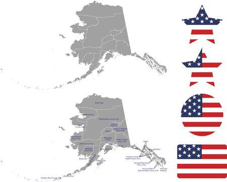 Counties map of Alaska with USA flag icon set
