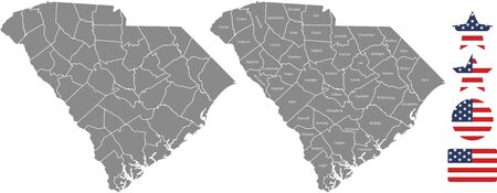 Counties map of South Carolina with USA flag icon set