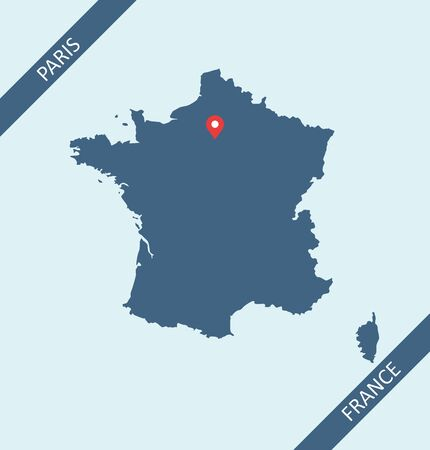 Map of France with capital location Paris 向量圖像