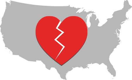 Broken heart of Americans due to corona virus deaths