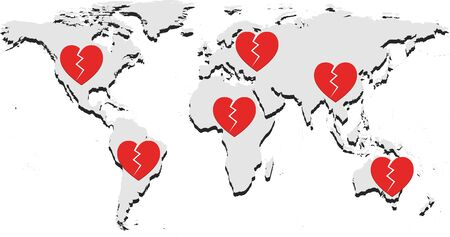 Broken hearts of people around the world for people who have died because of worldwide pandemic of corona virus disease 2019 (COVID-19) 向量圖像