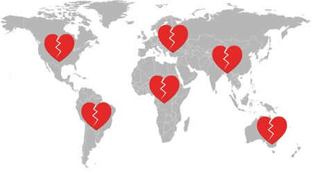 Broken hearts of people around the world for people who have died because of worldwide pandemic of corona virus disease 2019 (COVID-19)