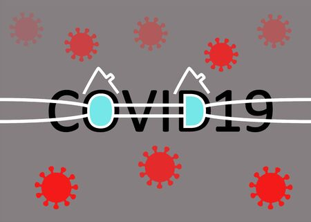 Abstract conceptual background of wearing face masks and social distancing and staying at home (quarantine) to stop corona virus spread