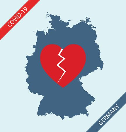 Broken heart of Germans and rest of the world for German people who died due to worldwide pandemic of coronavirus disease 2019 (COVID-19)