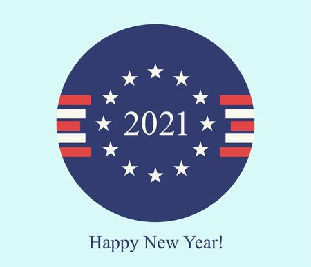 Happy new year 2021 postcard clockwise abstract background of USA flag