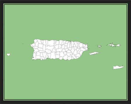 County map of Puerto Rico vector outline