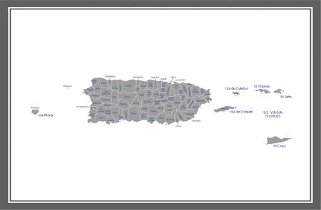 Puerto Rico county map vector outline