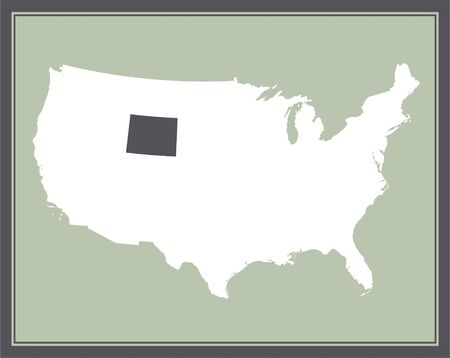 Wyoming on USA map cartography