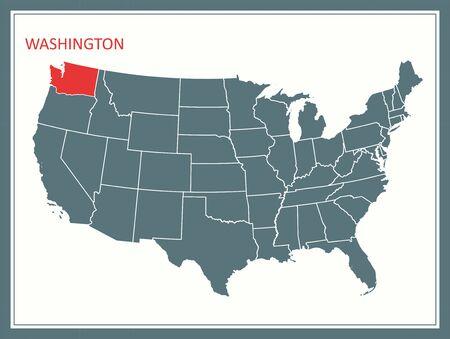 Geographic location of Washington state on USA map