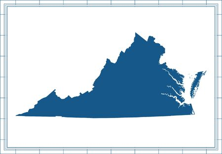 Virginia blank map outline vector