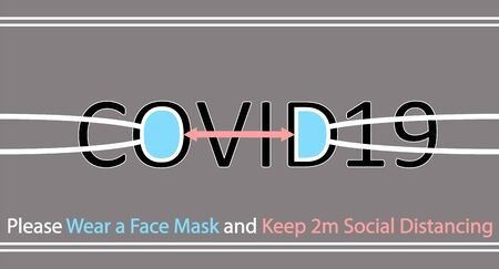Abstract design of a surgical mask with recommendations of wearing a face mask and practicing social distancing to stop coronavirus. The distance between O and D letters represents social distancing