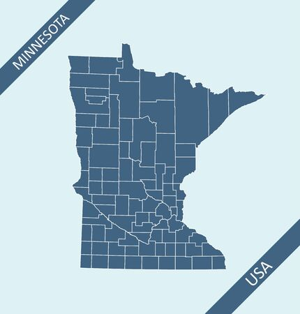 Counties map of Minnesota USA Иллюстрация
