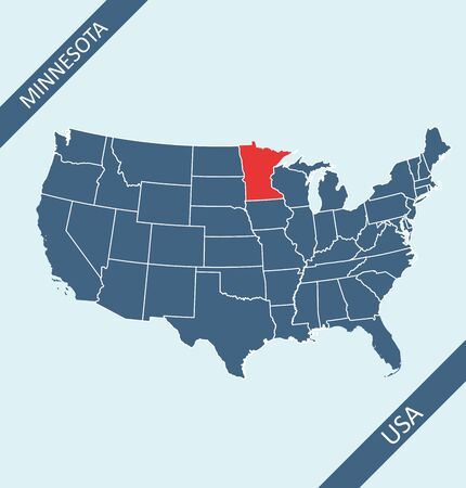 Minnesota location on USA map Иллюстрация