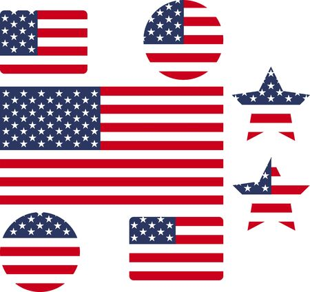 USA flag icon set creative designs