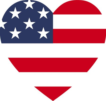 USA flag love icon illustration