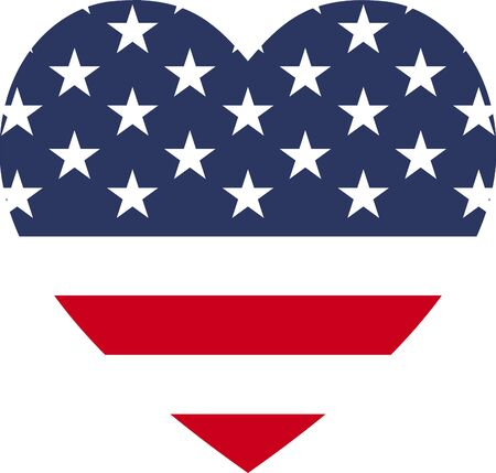 Heart shape icon of USA flag