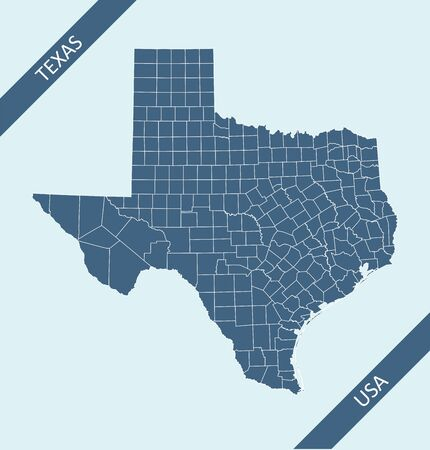 Counties map of Texas USA