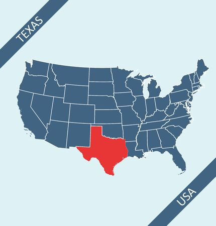 Texas highlighted on USA map