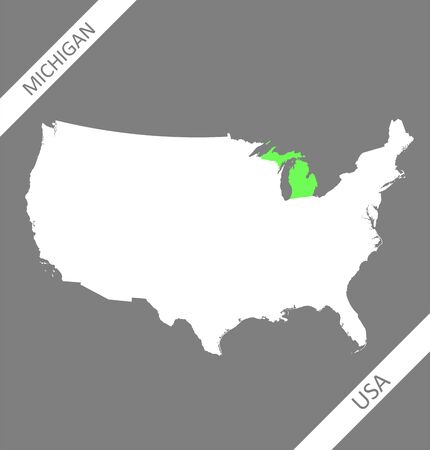 Michigan on USA map vector