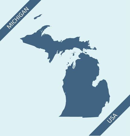 Blank map of Michigan USA