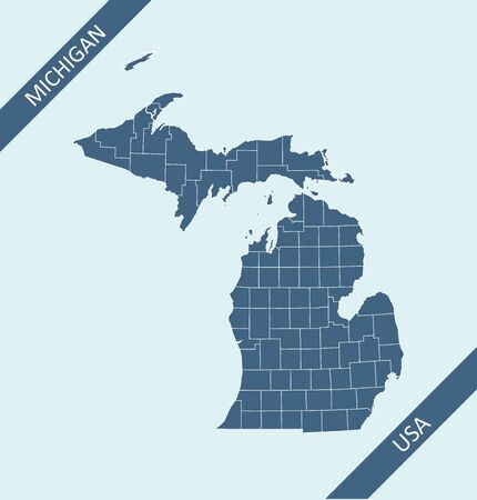 County map of Michigan USA