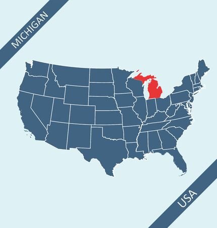 Michigan highlighted on USA map Illustration