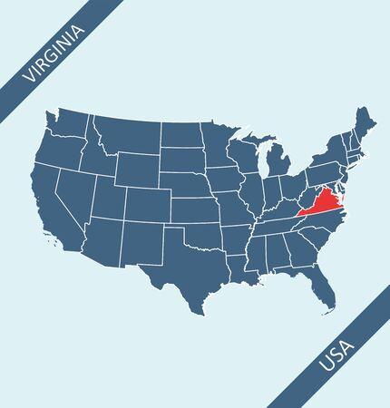 Virginia highlighted on USA map