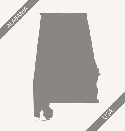 Blank map of Alabama USA Illustration