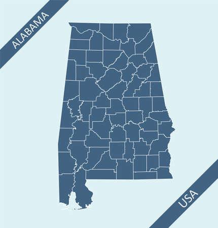 County map of Alabama USA Illustration